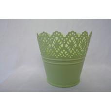 Kvetináč plechový zelený čipka
