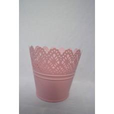 Kvetináč plechový ružový čipka