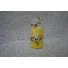 Sviečka dekoračná žlta sova valec
