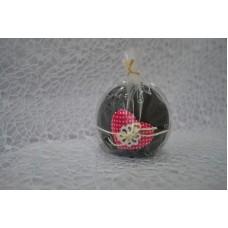 Sviečka dekoračná čierna srdce guľa